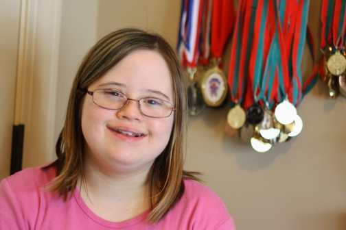 Kelly With Special Olympics Medals
