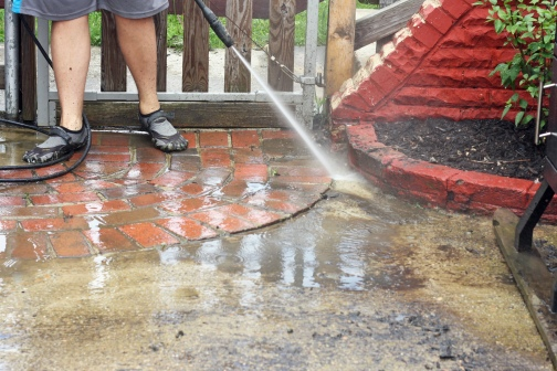 Powerwashing the Patio